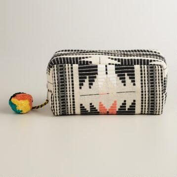 Multicolor Tribal Travel Pouch with Pom-Poms