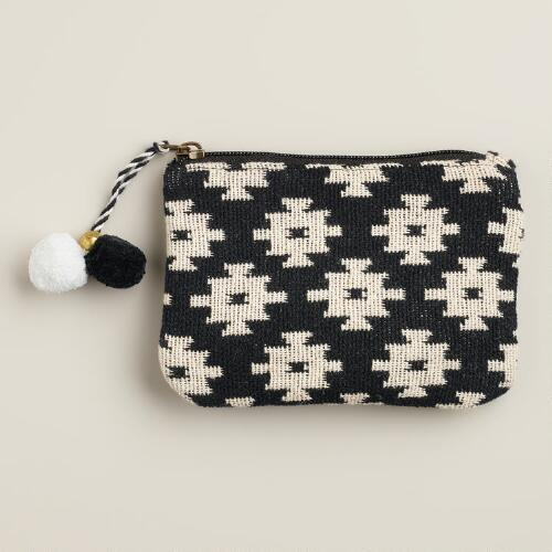 Black and White Small Geometric Pouch with Poms