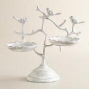 Whitewashed 2-Tiered Bird Jewelry Stand
