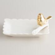 White Ceramic Jewelry Holder with Gold Bird