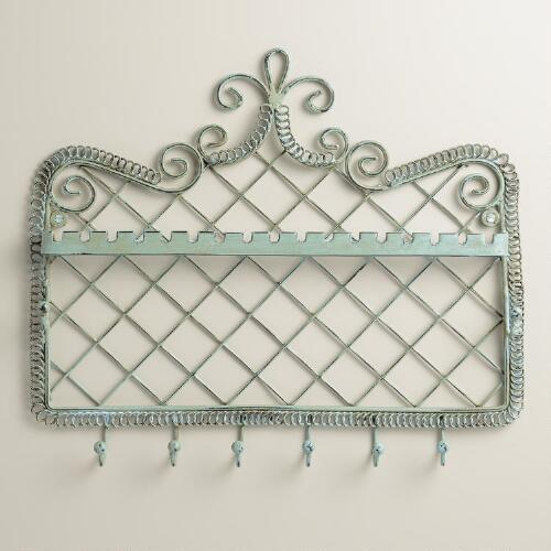 Green Wall Jewelry Holder with Hooks