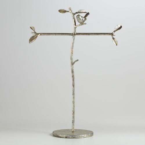 Silver Crackle Bird T-Bar Jewelry Stand