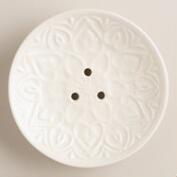 Ivory Ceramic Embossed Soap Dish