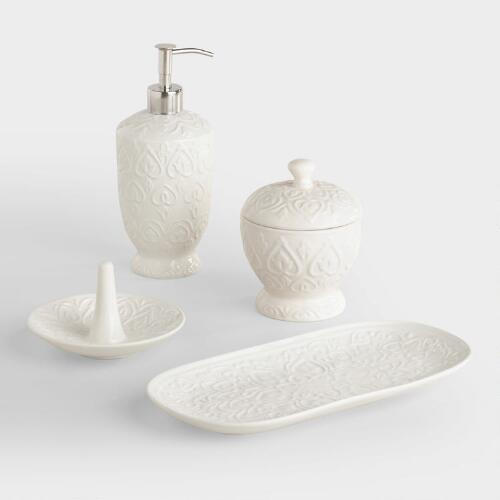 Ivory embossed ceramic bath accessories collection world for Ceramic bathroom bin