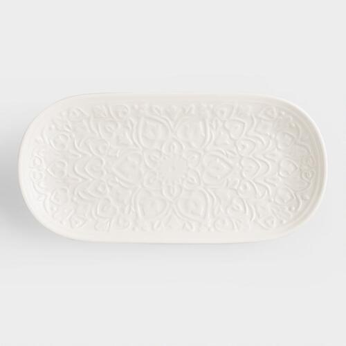 Ivory Embossed Ceramic Tray