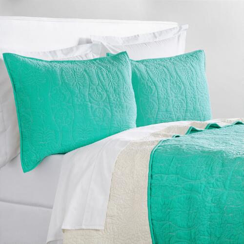 Lagoon Blue and Ivory Simone Bedding Collection