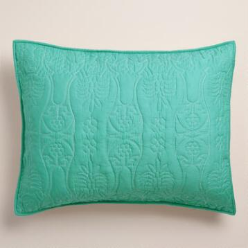Lagoon and Ivory Simone Reversible Pillow Shams, Set of 2