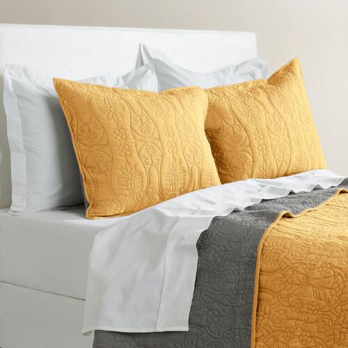 Marigold and Frost Gray Simone Bedding Collection