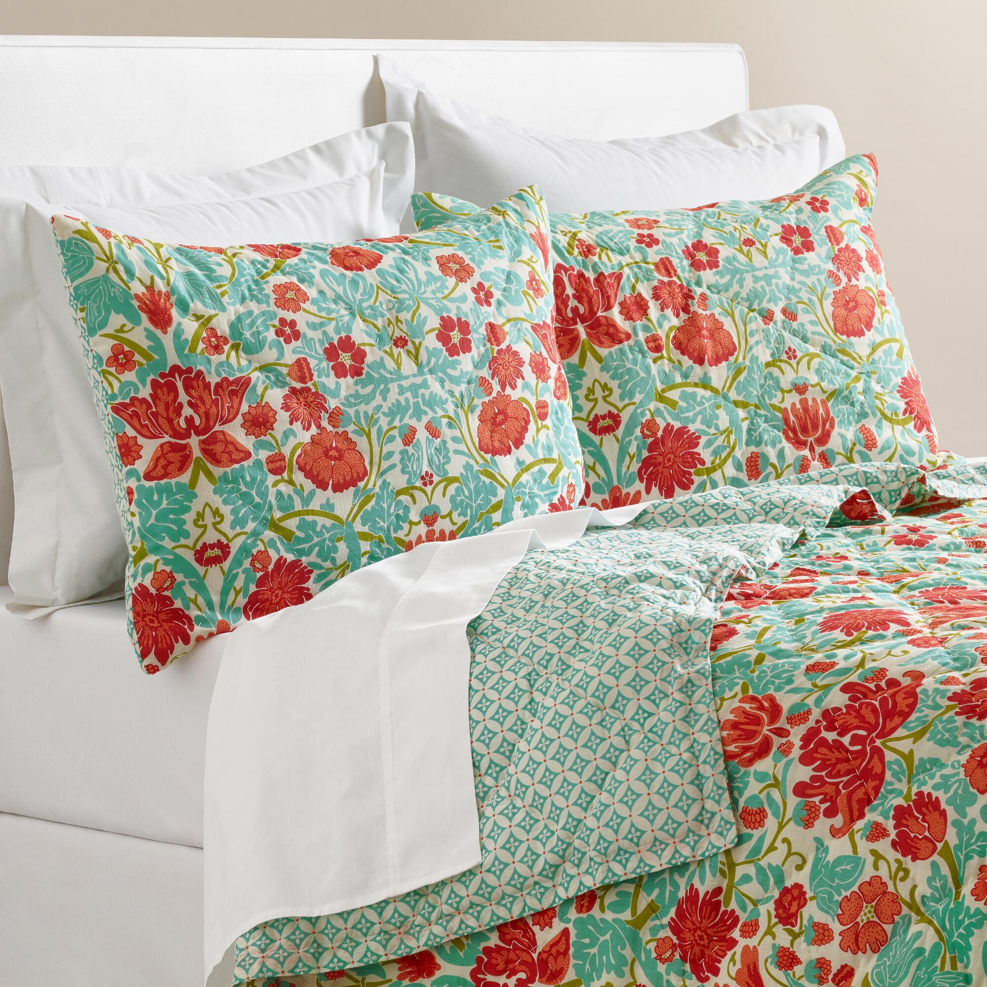 Coral and Turquoise Floral Camille Bedding Collection ...