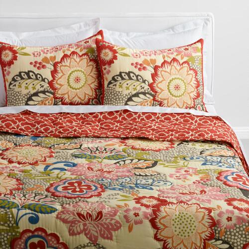 Floral and Geometric Darby Reversible Quilt