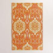 Orange and Ivory Bungalow Ikat Rio Indoor-Outdoor Mat