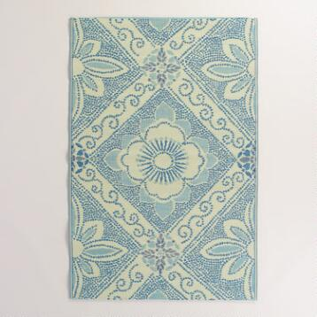 Blue and Gray Montauk Rio Indoor-Outdoor Mat