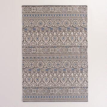 4'x6' Floral and Gray Striped Indoor-Outdoor Rug