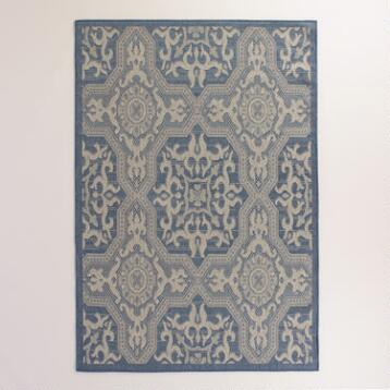 5'x7' Blue and Gray Sufi Tiles Indoor-Outdoor Rug