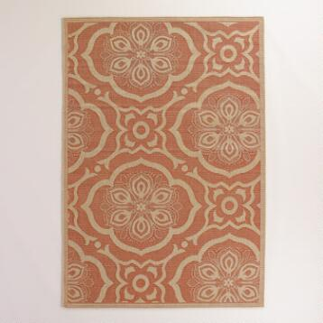 5'x7' Orange Bungalow Tiles Indoor-Outdoor Rug
