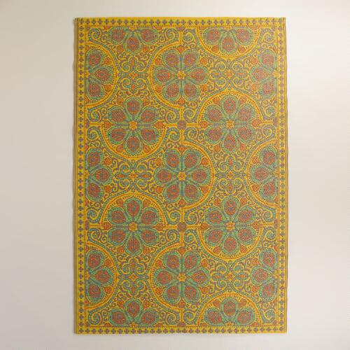 Goldenrod Nomad Tiles Rio Indoor-Outdoor Mat