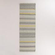 2.5'x8' Yellow and Gray Striped Dhurrie Floor Runner