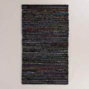 Multicolor Black Cotton Chindi Area Rug