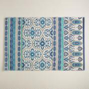 2'x3' Blue Floral Reversible Indoor-Outdoor Rug