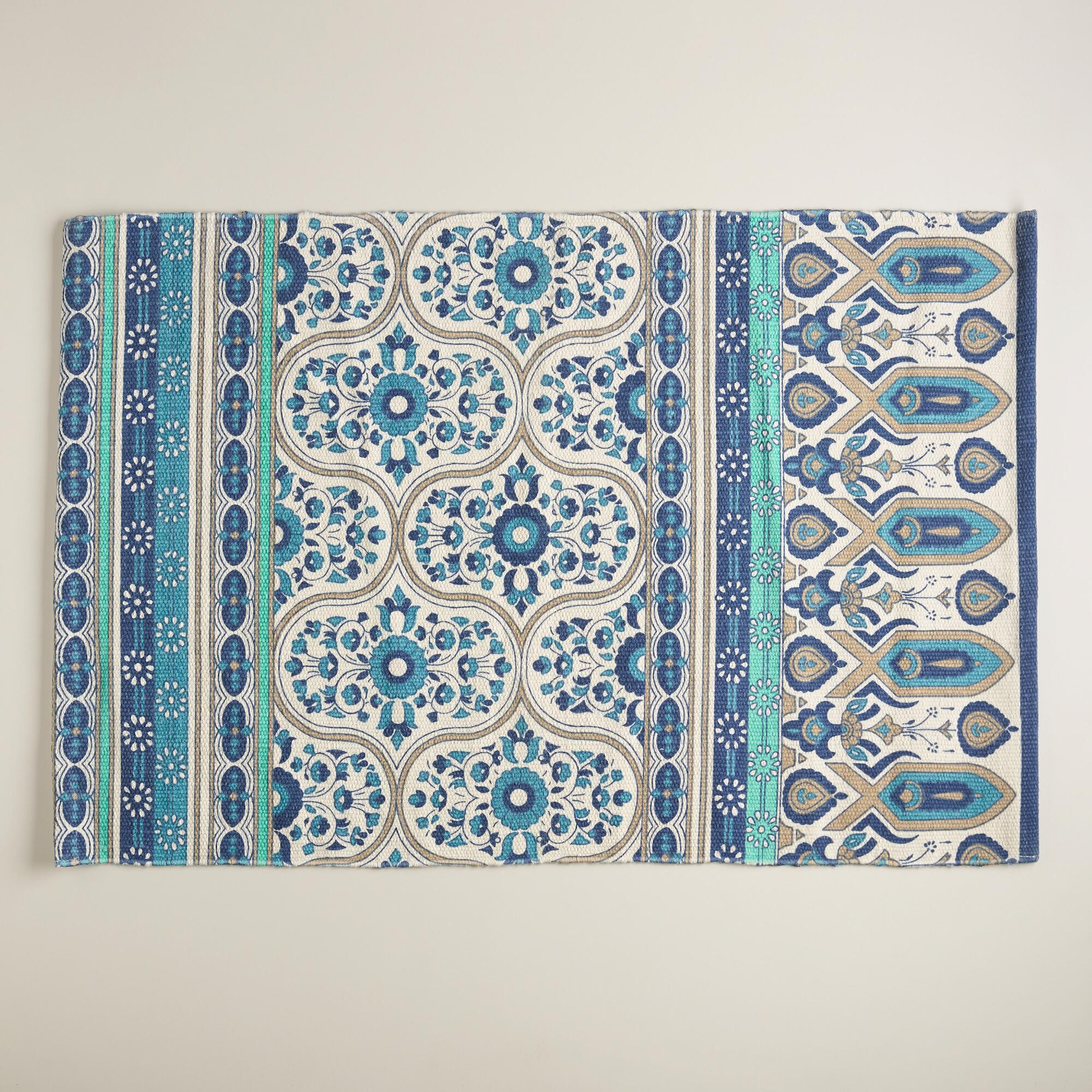 2'x3' Blue Floral Reversible Indoor-Outdoor Rug | World Market - photo#24
