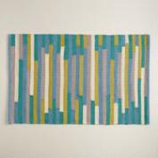 2'x3' Blue and Green Stripe Reversible Indoor-Outdoor Rug