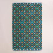 Blue Barcelona Tiles Indoor-Outdoor Rug