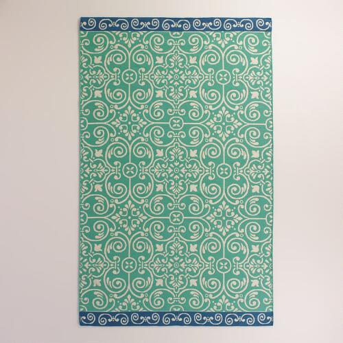 Blue Bordered Turquoise Tiles Indoor-Outdoor Rug