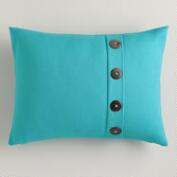 Peacock Blue Basketweave Lumbar Pillow with Button