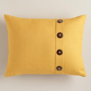 Mustard Yellow Basketweave Lumbar Pillow with Button