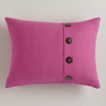 Fuchsia Basketweave Lumbar Pillow with Button