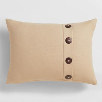 Natural Basketweave Lumbar Pillow with Button
