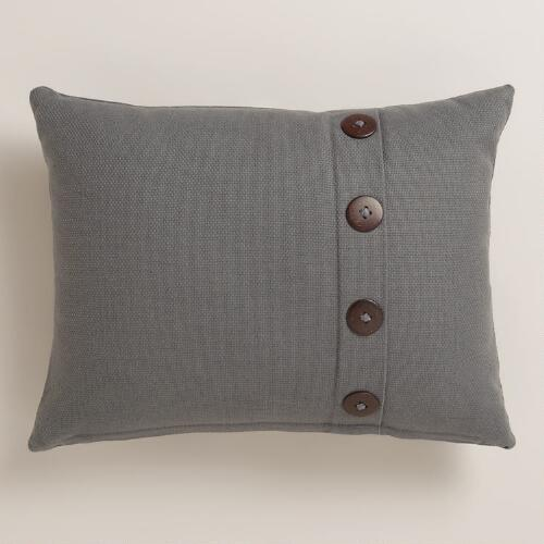 Pewter Basketweave Lumbar Pillow with Button