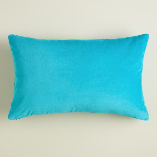 Peacock Blue Velvet Lumbar Pillow