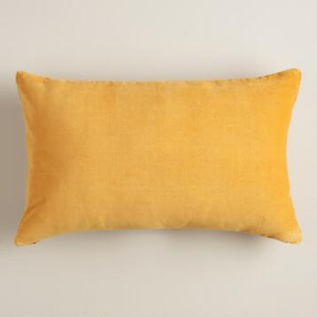 Mustard Yellow Velvet Lumbar Pillow