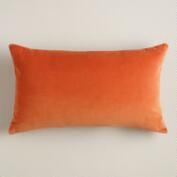 Burnt Orange Velvet Lumbar Pillow