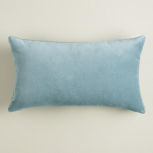 Steel Blue Velvet Lumbar Pillow