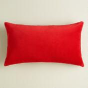 Poppy Red Velvet Lumbar Pillow