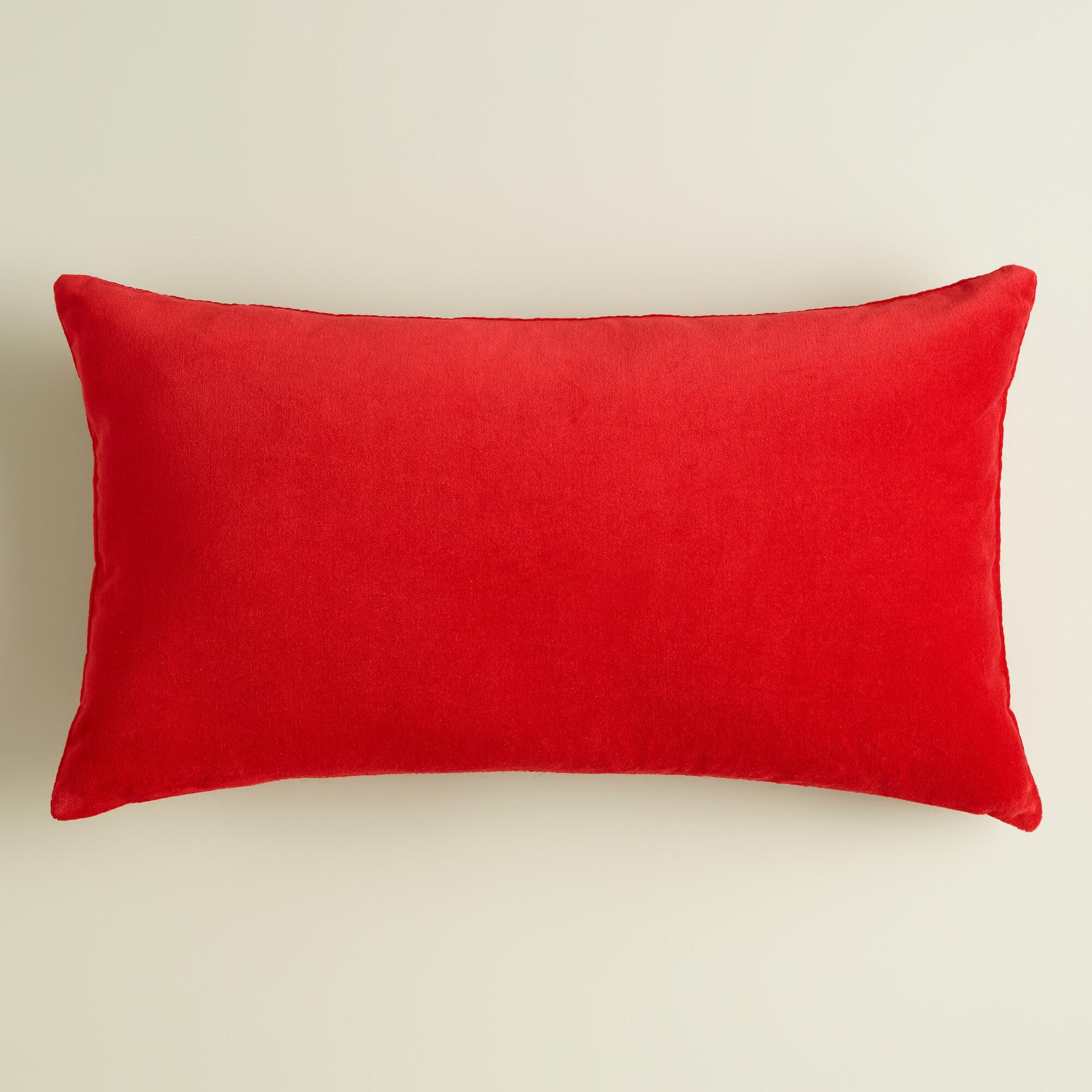 Poppy Red Velvet Lumbar Pillow World Market
