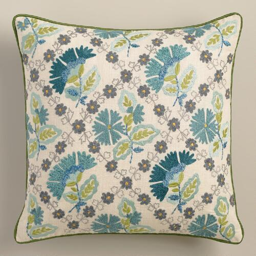 Gray and Aqua Floral Tile Throw Pillow