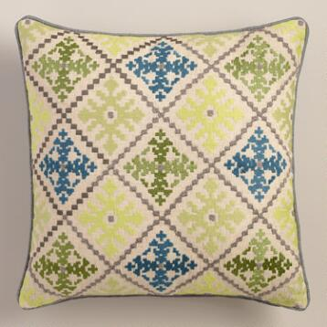 Aqua and Green Geometric Tile Throw Pillow