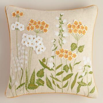 Yellow Blooms Throw Pillow