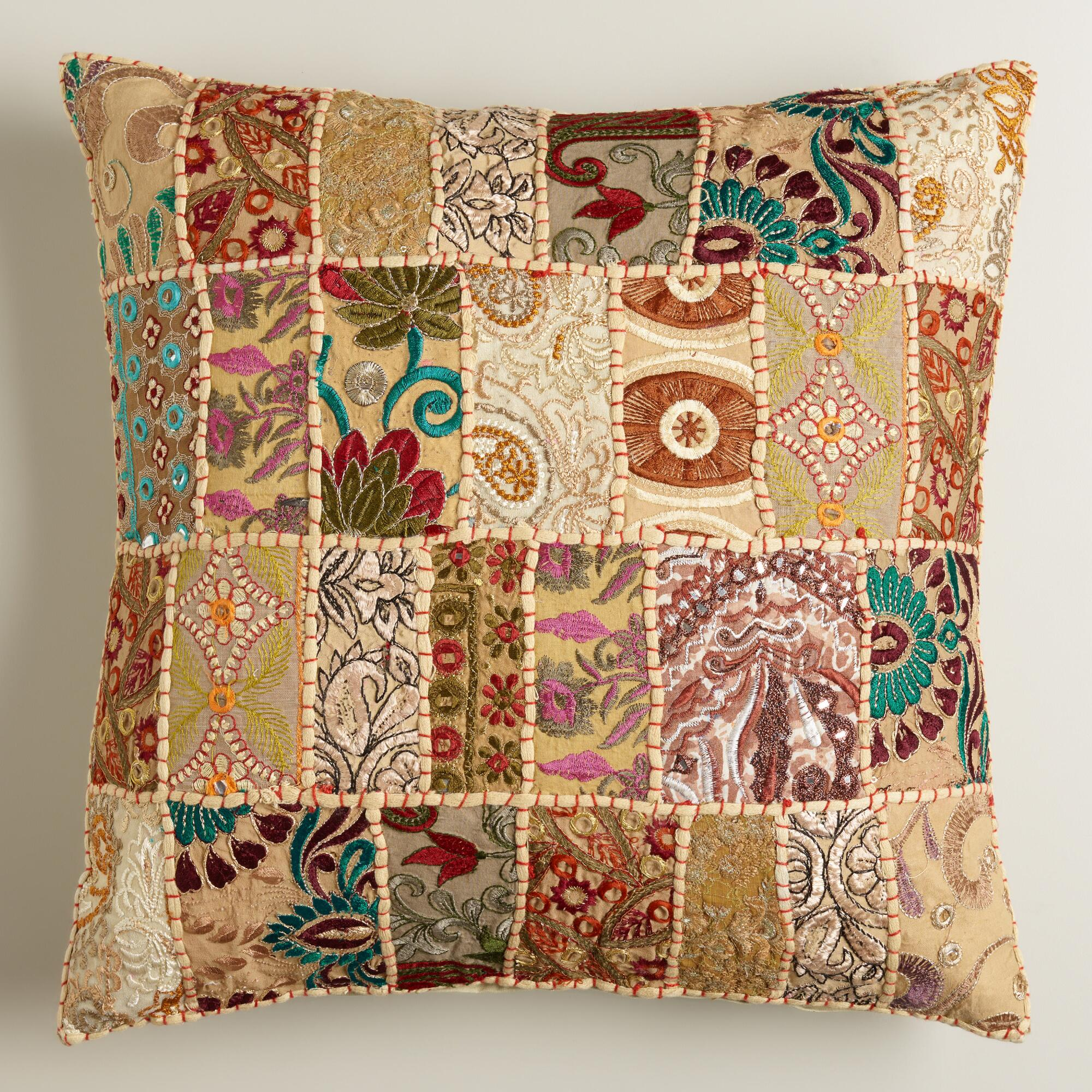 Natural Patchwork Throw Pillow World Market
