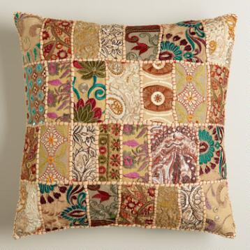 Natural Patchwork Throw Pillow