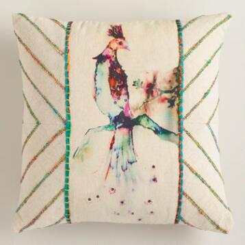 Multicolor Bird Throw Pillow