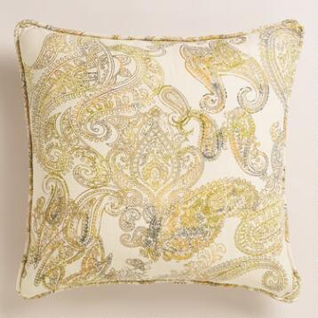 Paisley Herringbone Throw Pillow