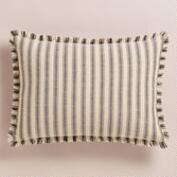 Striped Frayed Edge Lumbar Pillow