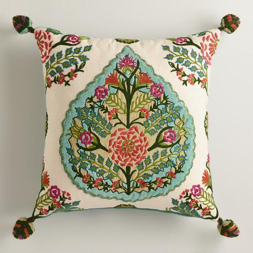 Velvet Embossed Leaf Throw Pillow