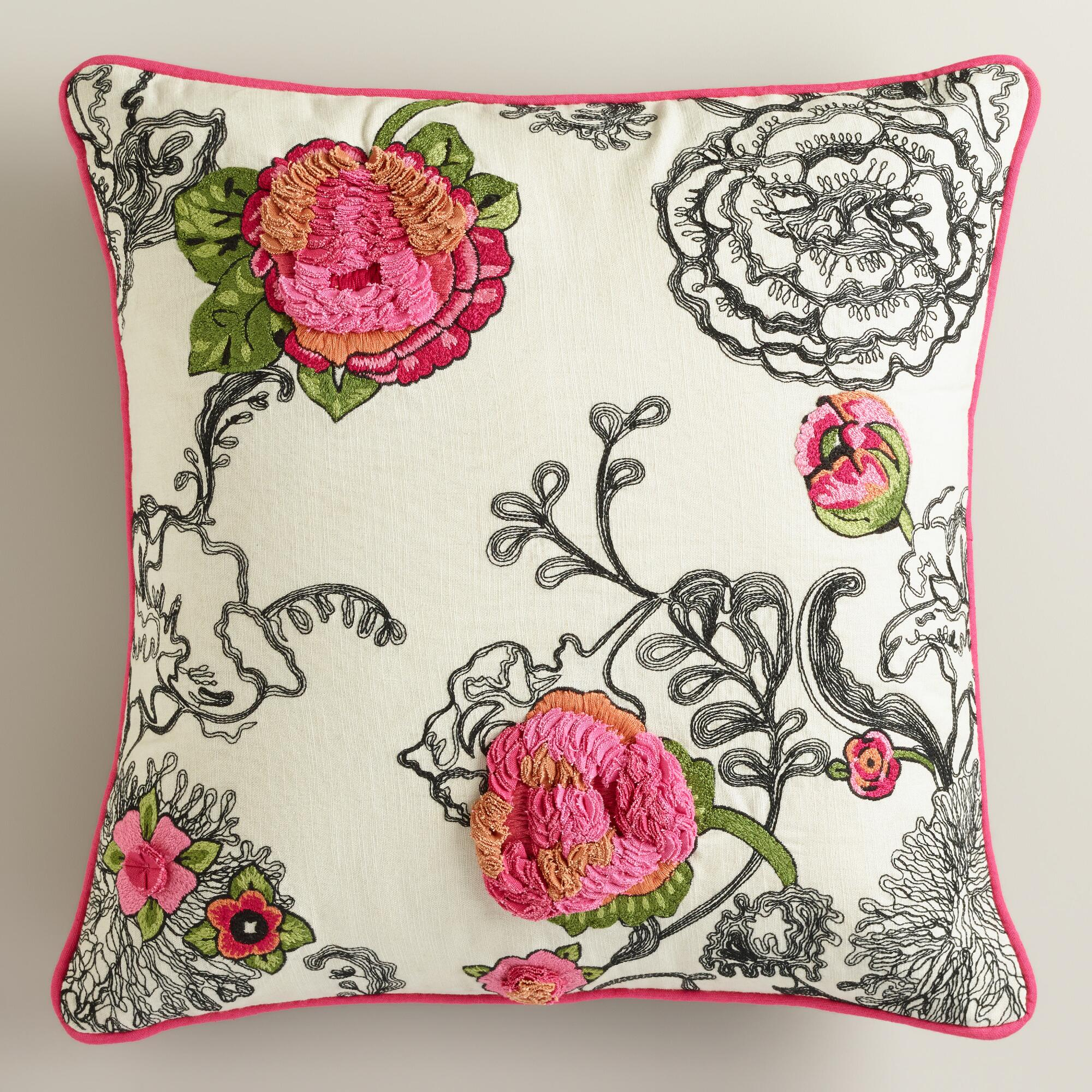 Decorative Pillows Flowers : Floral Embroidered Throw Pillow World Market
