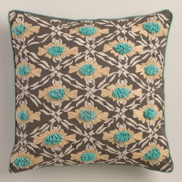 Aqua Daisy Geometric Throw Pillow