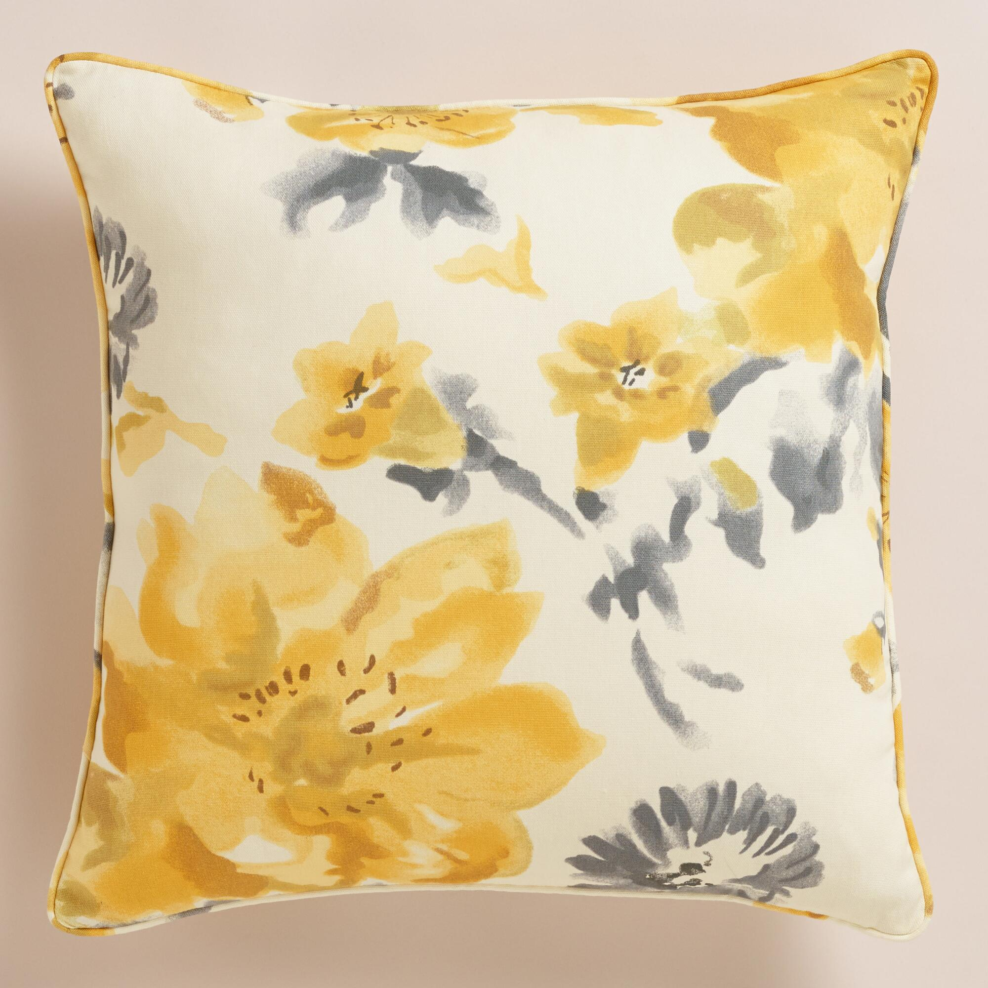 Decorative Pillows Flowers : Yellow Flower Throw Pillow World Market